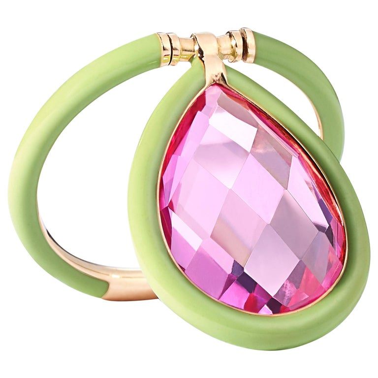 Nina Runsdorf Yellow Gold Acid Green and Pink Topaz Ring For Sale