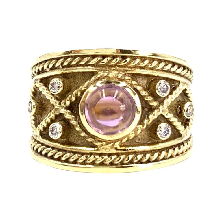 Yellow Gold Amethyst and White Diamond Wide Ring