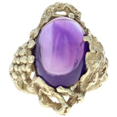 Yellow Gold Amethyst Arts & Crafts Ring, 14k Cabochon 6.30ct Vintage Grapevine