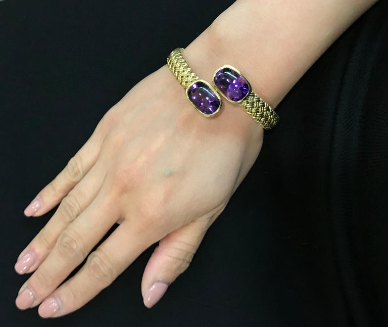 Women's Yellow Gold Amethyst Crossover Cuff Bracelet For Sale