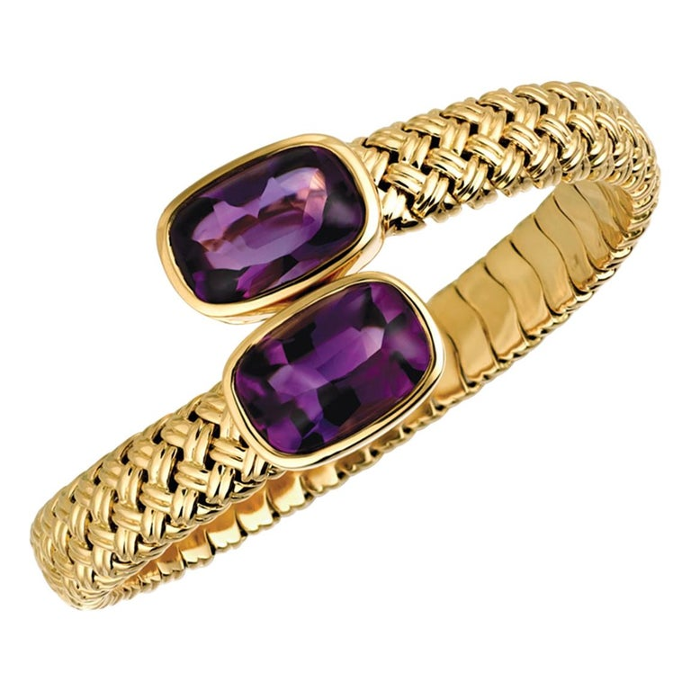 Yellow Gold Amethyst Crossover Cuff Bracelet For Sale