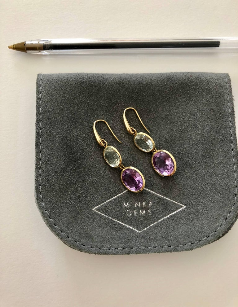 Contemporary Yellow Gold Purple and Green Amethyst Double Drop Earrings  For Sale
