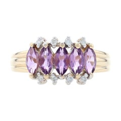 Yellow Gold Amethyst & Diamond Five-Stone Ring, 14k Marquise Cut 1.08ctw