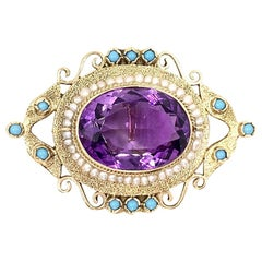 Yellow Gold Amethyst, Pearl and Turquoise Brooch or Enhancer Pendant