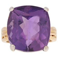 Yellow Gold Amethyst Ring, 18 Karat Cocktail 19.60 Carat Solitaire