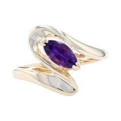 Yellow Gold Amethyst Solitaire Bypass Ring, 14k Marquise Cut .45ct