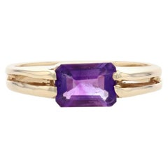 Yellow Gold Amethyst Solitaire Ring, 14k Emerald Cut 1.00ct East-West