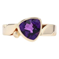 Yellow Gold Amethyst Southwestern Solitaire Bypass Ring, 14k Trillion 1.50 Carat