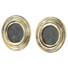Yellow Gold Ancient Coin Clip Post Earrings