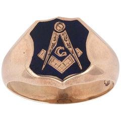 Yellow Gold and Blue Enamel Masonic Ring