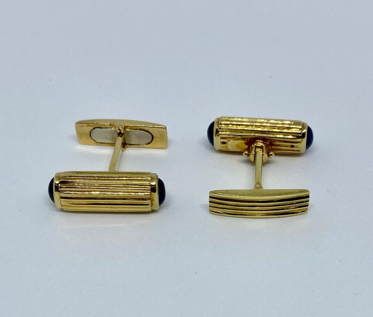 Contemporary Yellow Gold and Blue Sapphire Cufflinks For Sale