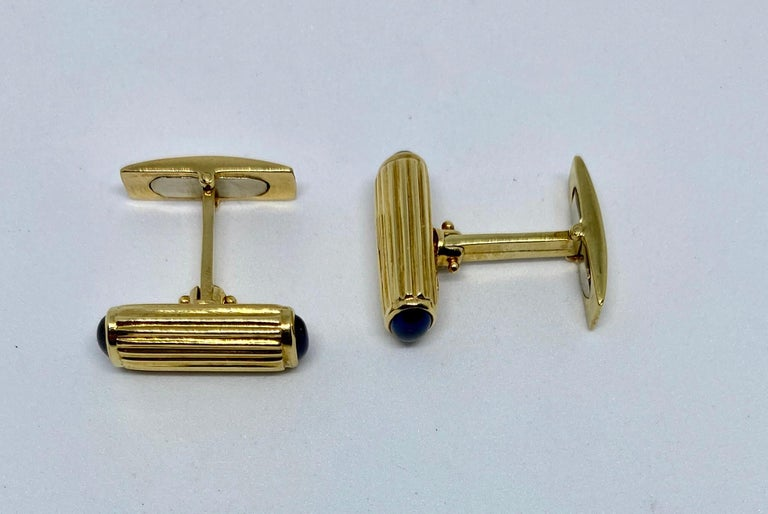 Cabochon Yellow Gold and Blue Sapphire Cufflinks For Sale