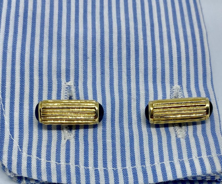 Yellow Gold and Blue Sapphire Cufflinks In Good Condition For Sale In San Rafael, CA