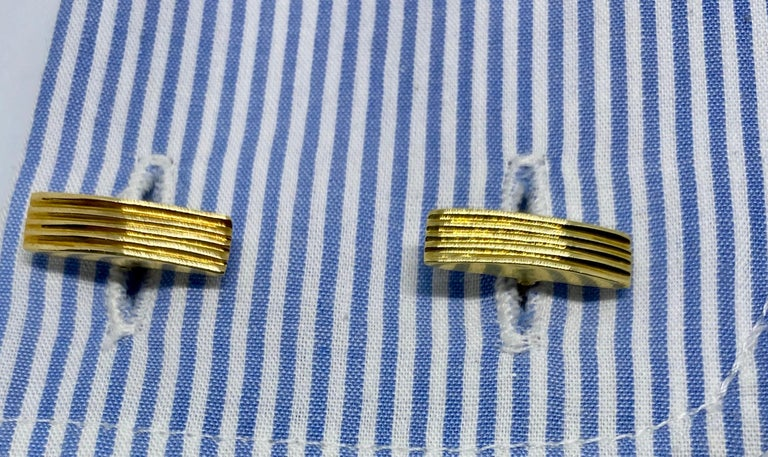 Yellow Gold and Blue Sapphire Cufflinks For Sale 1