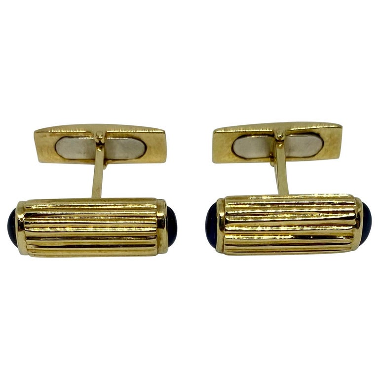 Yellow Gold and Blue Sapphire Cufflinks For Sale