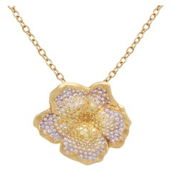 Stambolian Fancy Yellow White Diamond 18K Yellow Gold Flower Pendant Necklace