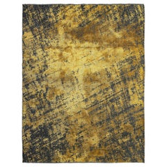 Yellow Gold and Charcoal Gray Modern Abstract Fade Pattern Soft Rug