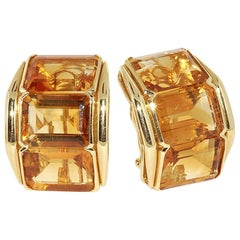 Yellow Gold and Citrine Earrings, circa 1970s