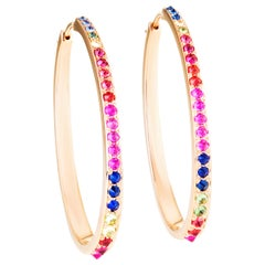 Yellow Gold and Colored Sapphire Hoop Earrings