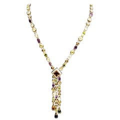 Yellow Gold and Colored Zircons Pendent Necklace