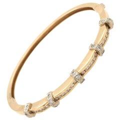 Yellow Gold and Diamond Bangle Bracelet