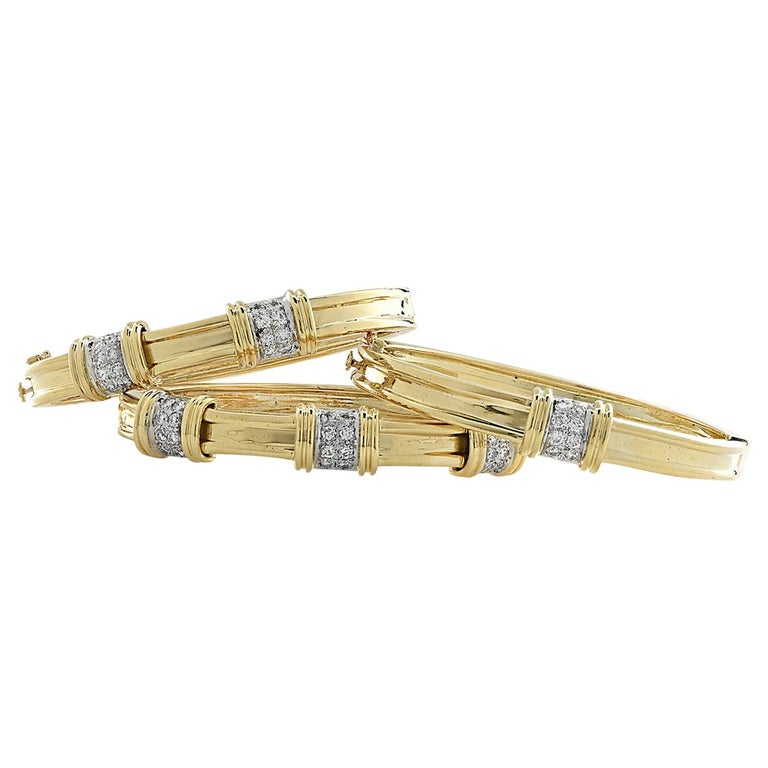 Yellow Gold and Diamond Bangle Bracelet Set, circa 1980s For Sale