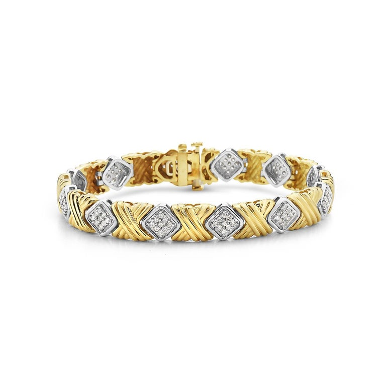 Round Cut Yellow Gold and Diamond Bracelet For Sale