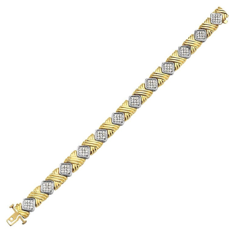 Yellow Gold and Diamond Bracelet For Sale