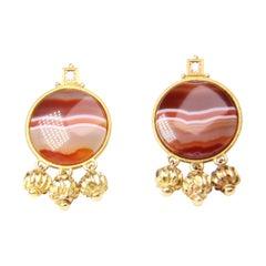 Yellow Gold and Diamond Carnelian Elizabeth Gage Earrings