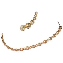 Yellow Gold and Diamond Choker Necklace and Earrings Suite