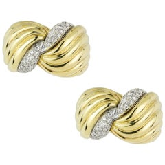 Yellow Gold and Diamond Clip Earrings
