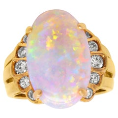 Yellow Gold and Diamond Cocktail Ring with Oval Ethiopian Opal Center
