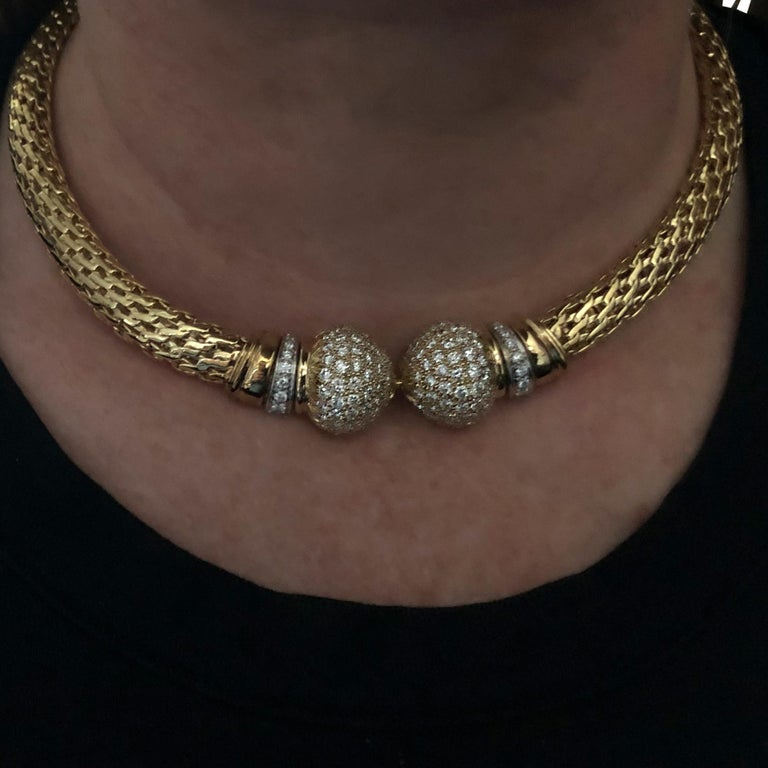 Modern Yellow Gold and Diamond Collar Necklace