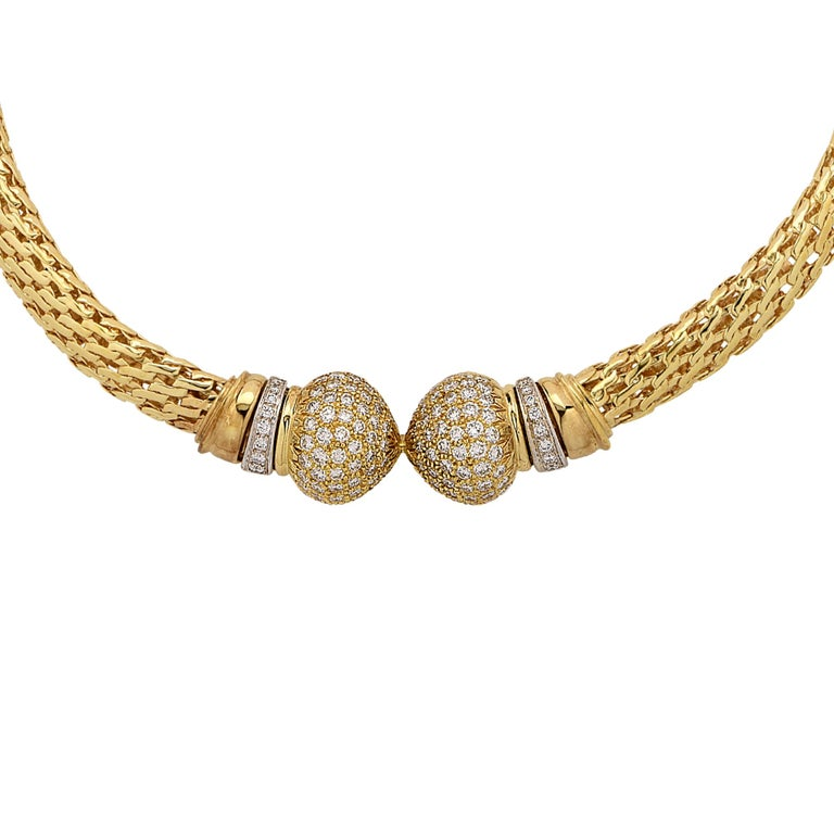 Round Cut Yellow Gold and Diamond Collar Necklace