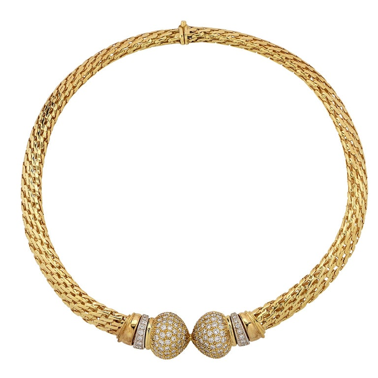 Yellow Gold and Diamond Collar Necklace