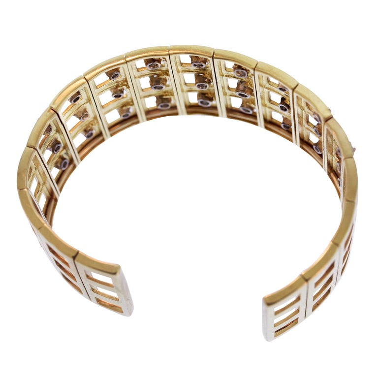 Women's Yellow Gold and Diamond Cuff Bracelet For Sale