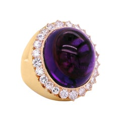 Yellow Gold and Diamond Dome Ring with Cabochon Amethyst Center