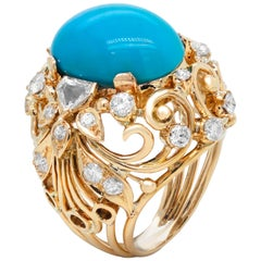 Yellow Gold and Diamond Dome Ring with Sleeping Beauty Turquoise Center