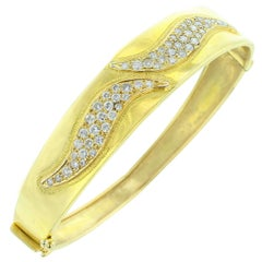 Yellow Gold and Diamond Double Swerve Bangle or Bracelet