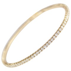 Yellow Gold and Diamond Flexible Bangle Bracelet