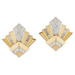 Yellow Gold and Diamond Geometric Earrings