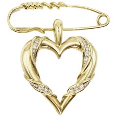 Yellow Gold and Diamond Heart Brooch or Pendant