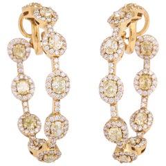 Yellow Gold and Diamond Hoop Earrings