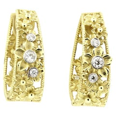Yellow Gold and Diamond Hoop Flower Earrings Stambolian