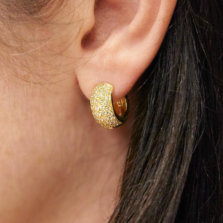 "Women's Yellow Gold and Diamond ""Huggies"" Earrings For Sale"