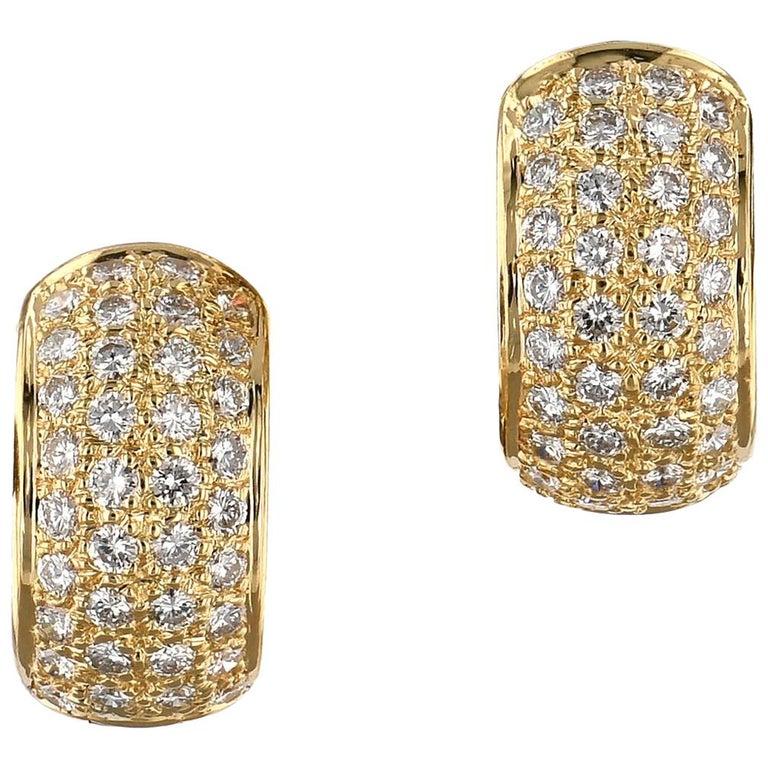 "Yellow Gold and Diamond ""Huggies"" Earrings For Sale"