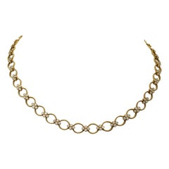 Yellow Gold and Diamond Oval Link Necklace