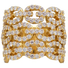 Yellow Gold and Diamond Oval Link Wide Band Ring