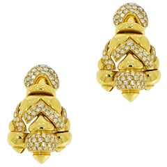 Yellow Gold and Diamond Pave Drop Earrings