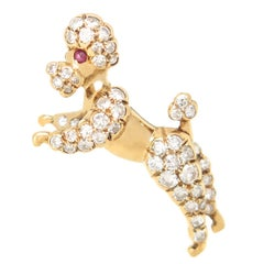 Yellow Gold and Diamond Poodle Brooch, 1960s